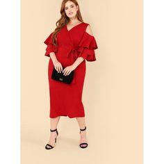 5bacf3b58a8 Cold Shoulder Layered Flounce Sleeve Wrap Dress Dresses For Sale