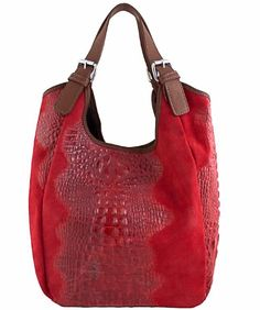 0452afbed7af Italian designer leather handbags Etasico Myra Croco Print Red Hobo  Handmade Made in Italy Bags on SALE + FREE SHIPPING  139 - Reg  199.