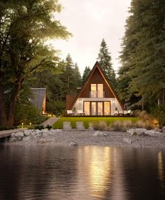The voice of the Prefab Timber Homes Industry in Europe. The meeting place for architects, buyers and manufacturers. A Frame Cabin, A Frame House, French Style Homes, Style At Home, Plan Chalet, European Home Decor, Timber House, Prefab Homes, Modular Homes