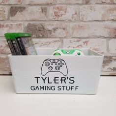 Cool storage box personalised with the name of your choice. Perfect for storing games and controllers whilst still looking good on display on a desk or shelf! Personalised Scrapbook, Personalised Frames, Dishwasher Tabs, Laundry Pods, Gotcha Day, Photo Album Scrapbooking, Jar Gifts, Home Gifts, Birthday Gifts