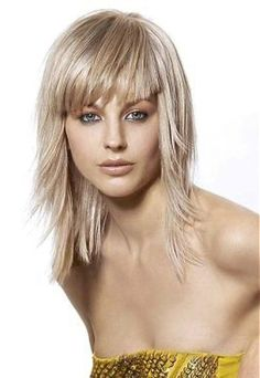straight shoulder length hair with layers and bangs - Google Search