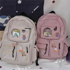 Stylish School Bags, Cute School Bags, School Bags For Girls, Girls Bags, Backpack With Pins, Backpack For Teens, Aesthetic Backpack, Aesthetic Bags, Big Backpacks