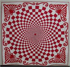 Red-and-white vortex quilt, free quilt pattern and tutorial by Paula Yates