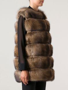 Liska Brown Fisher Fur Vest