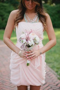Love the idea of blush dresses with tiffany blue jewelry, blush roses, and tiffany blue ribbon around the bouquets...