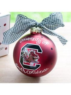 $14.50 4 University of South Carolina Logo Glass Keepsake Ornament with Gift