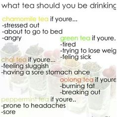 Ginger tea is better when you're feeling sick. Cinnamon tea is great if you are bloated or gassy.  Green tea is supposedly good for thinning your CM if TTC. And over all, tea is just so relaxing and wonderfully tasty.