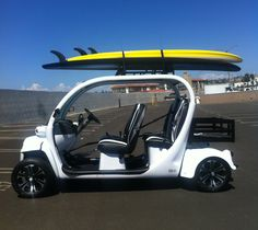 Golf Cart Discover Custom Gem car with surfboards on top by Innovation Motorsports Gem Cars, Automatic Cars For Sale, Custom Golf Carts, Car Images, Best Series, Electric Cars, Cars And Motorcycles, Surfboards, Surfing