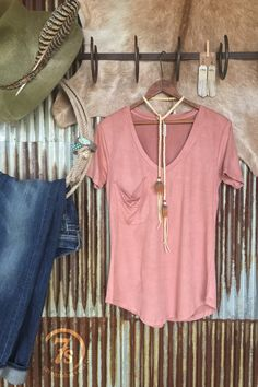 The Staley - The perfect faux suede pocket tee. Dusty Rose. The softest feel with just the slightest sheen. Deep v-neck Slouchy accent pocket. Rounded hem. Good length. Relaxed fit with slightly tapered at true waist.