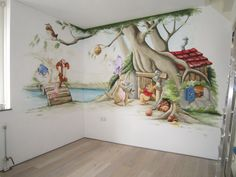 Ideas Baby Nursery Winnie The Pooh Wall Murals Baby Bedroom, Baby Room Decor, Nursery Room, Kids Bedroom, Mural Painting, Mural Art, Kids Room Design, Wall Design, Kids Room Murals