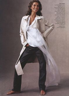 """silk one shoulder top, grey blue jeans and single breast coat all by Helmut Lang. / """"At First Sight"""" Vogue US Nov 1999 / Ph: Steven Meisel"""