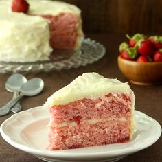 Strawberry Layer Cake with Cream Cheese Frosting is made all from scratch – no cake mix, no strawberry Jello.