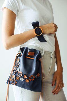 Floral Bag, Floral Handbag, Small Bag, Floral Pattern, Small Pouch, Pouch Bag, Floral Bucket Bag, Handmade Bag, Leather Bag, Leather Pouch, Waist Bag, Leather Belt Bag, Leather Fanny Pack, Designer Bag