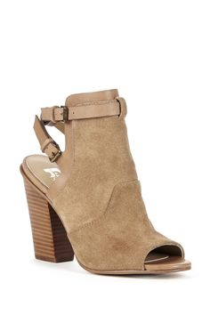 Slingback peep toe ankle bootie in luxurious leather & suede