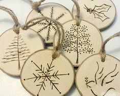 SINGLE Handmade Tree Wood Slice Burned Christmas Ornament - Natural Wood and Hemp Materials