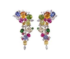 Oscar Heyman - Gold-and-platinum earrings with multicolored stones and diamonds.