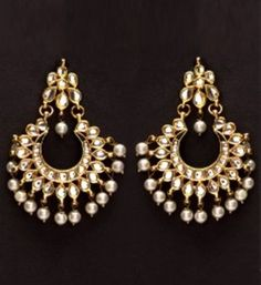 Gold micron finish american diamond bali style earrings with pearl ...