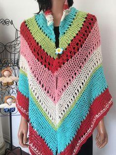 Hand Knits 2 Love Cotton Shawl Triangle Designer Fashion Tassels Spring Summer #HandKnits2Love #ShawlWrap