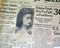 Actress Lucille Ball Actor Desi Arnaz Wedding Marries Weds 1940 Old Newspaper | eBay