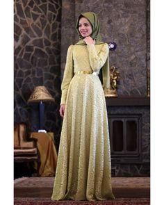Dantel Fıstık Yeşili Elbise