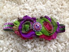 Purple and Green Sparkly Shabby Flower Infant by HannahHeadbands, $7.00