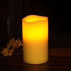 Home Impressions Battery Operate Flameless Pillar LED Candle with Timer 3 x 5 Yellow * For more information, visit image link.