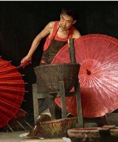 Wagasa traditional craftsman, Japan