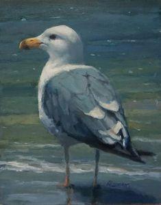 """Daily Paintworks - """"Seagull Waiting"""" - Original Fine Art for Sale - © Adele Loomans Bird Painting Acrylic, Acrylic Artwork, Painting & Drawing, Sea Birds, Watercolor Animals, Art Journal Inspiration, Beach Art, Bird Art, Beautiful Birds"""