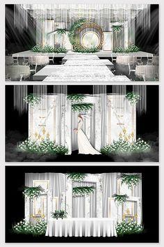Modern minimalist white marble Mori theme wedding effect picture Reception Stage Decor, Wedding Stage Decorations, Backdrop Decorations, Backdrops, Champagne Wedding Colors, Wedding Stage Design, Modern Minimalist Wedding, European Wedding, Backdrop Design