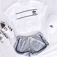 Adidas classics, cap, exercise shorts and cropped tee. ❤︎