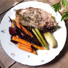 Easy Paleo dinner. Roasted vegetables and pork :)
