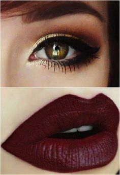A touch of yellow-gold and copper on the eye, winged liner and a dark lipstick. Gorgeous!
