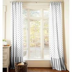 Gray and White Dots and Stripes Drape Panel 84-Inch Length Standard Lining 25.5-Inch Width