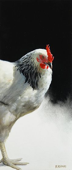 FOR SALE Blackwhite Chicken II, oil/panel 16 x 7 inch (40 x 17 cm) © 2011 Klimas