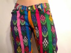 Handmade pants - Guatemalan textile - womens pants -  guatemalan fabric - womens clothing - colorful pants - free shipping. $90.00, via Etsy.