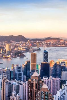 Sunset over Victoria Harbor in Hong Kong