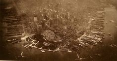 """historicaltimes: """" First Aerial Photograph of Lower Manhattan, 1922 """" Lower Manhattan, Manhattan Nyc, Manhattan Skyline, Old Pictures, Old Photos, Vintage Photos, Fail Pictures, Vintage Art, Vintage New York"""