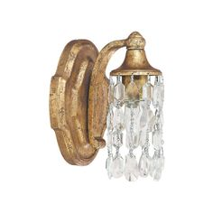 This Blakely collection 1-light wall sconce features a beautiful hand painted antique gold finish that will complement many traditional decors. The clear crystal accents add interest and complete the