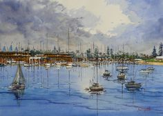 Gold Coast's Broadwater. Another watercolour from Bruce Griffiths
