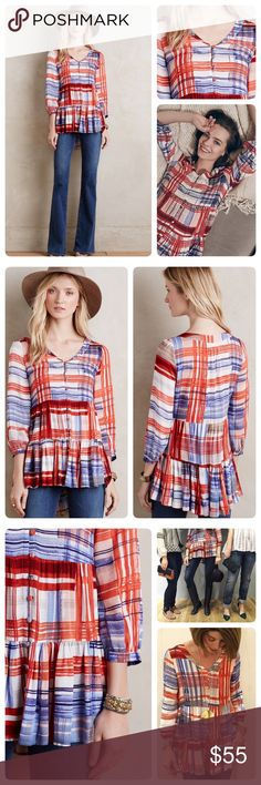 Anthropologie Lila Tiered Tunic Feminine tiered tunic by Maeve. Perfect for all seasons. 😘🎉Love this with a chunky sweater and boots for Fall or white skinnies and sandals. Fabric is soft and feels great against skin❤️ NWT. Color red, blue & white. Size Large Anthropologie Tops Tunics