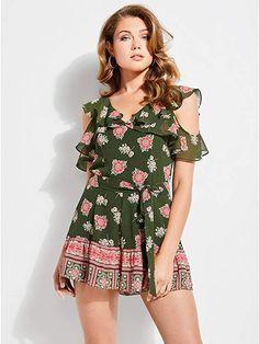 d66a761296fc GUESS Women s Raechelle Paisley Romper Summer Dresses For Women