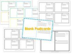 Blank postcard printables(work on writing center)