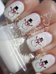 Christmas Xmas Snowman Christmas Nail Art Water Decals Nail Transfers Wraps