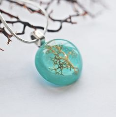 Mini Tree Necklace Small Turquoise Resin by NaturalPrettyThings, $26.00