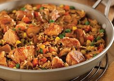 One-Skillet Pork with Wild Rice and Herbs Serves 4 Wild Rice, Kung Pao Chicken, Pork, Healthy Eating, Herbs, Cooking, Ethnic Recipes, Skillet, Pork Roulade