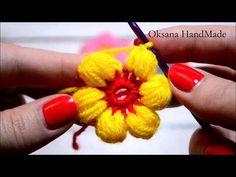 Volumetric flower of squares Crocheting Crochet Flowers, Crochet Lace, Puff Stitch Crochet, Handbag Tutorial, Knitting Videos, Crochet Baby Booties, Crochet For Beginners, Irish Crochet, Crochet Designs