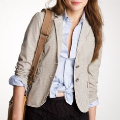 NWT J. Crew Schoolboy Blazer in Ticker-Stripe Gorgeous and super chic J. Crew Schoolboy Blazer in Ticker-Stripe (taupe and ivory). Never worn and comes brand new with tags and in pristine condition. Style number 38834. J. Crew Jackets & Coats Blazers