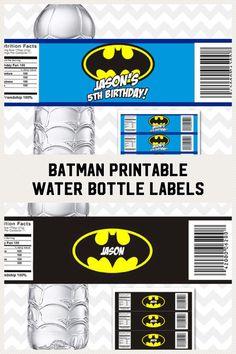 Batman Water Bottle Labels, Printable Batman Labels, Batman Bottle Labels, Batman Birthday Party, Batman Party Decoration, Batman Favors. #ad #eppartyad