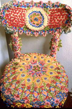 Yarn bombed crocheted chair...