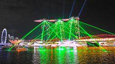 4K Singapore Laser show & lights on the water 2015 Marina bay sands. Vie...